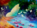 Butterfly With Water lillies 76x76cms 30x30ins