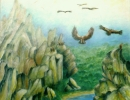 Vultures at Extremadura. 80x80cm, 31x31ins