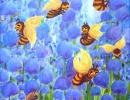 Dawn Chorus, Bees 40x56cm, 16x22ins